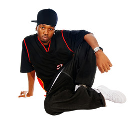 Handsome hip-hop young man on white
