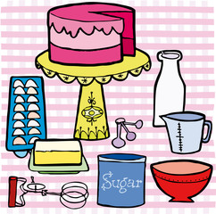 Birthday cake on table with pink vector illustration cartoon