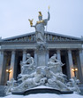 Vienna - parliament and Athena fountain in winter mornig