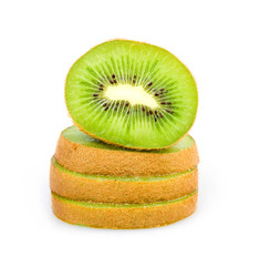 Ripe Sliced Kiwi Fruit Isolated