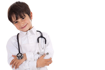 Little young boy doctor