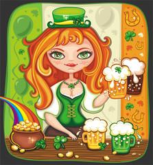 Cute girl serving Saint Patrick's Day