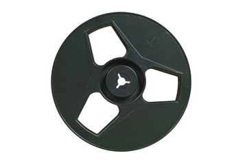 Old-fashioned tape recorder spool. Isolated image on white