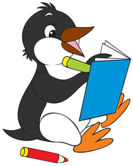 penguin writing in a notebook