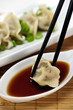 Steamed dumplings and soy sauce