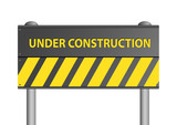 Illustration of an under construction sign on white background