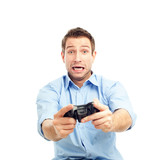 Men playing video games poster