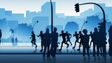 Silhouettes of street runners