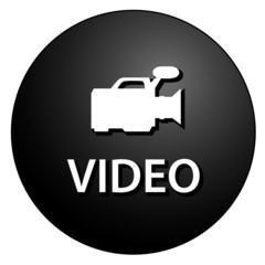 VIDEO Web Button (Play View Player Clip TV Black Sign DVD Films)