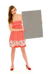 Woman holding blank placard