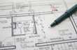 Architekturplan mit Zeichenstift