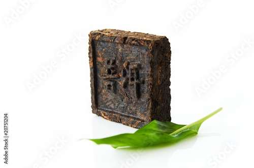 "pressed tea, hieroglyph ""Pu-erh tea"""