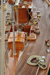 The details of a sailboat old style