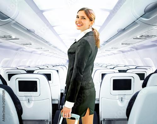 Leinwanddruck Bild flight attendant