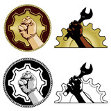 Symbols of labor poster