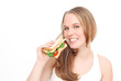 woman eating healthy diet food