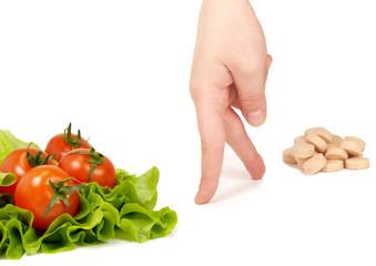 choice: fresh vegetables, or pill