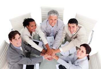 Cheerful multi-ethnic business team in a meeting