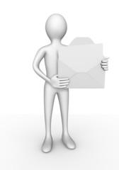Personnage 3d portant une lettre personnalisable