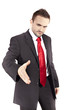young businessman extending his hand
