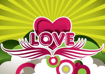 Designed Love background. Vector illustration.