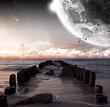 Nahaufnahme eines Planeten bei Sonnenuntergang