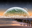 Planet landscape view from a beach