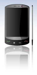 Mobile phone with large screen and pen with reflection