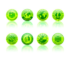 Recycle and environment symbols glossy