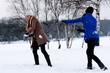 sisters snow ball fight