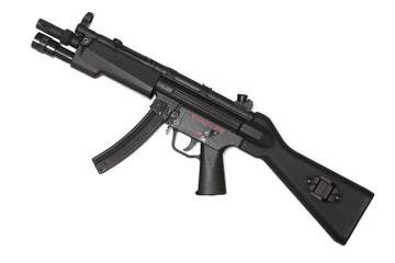 Weapon series. Modern submachine gun, side view.