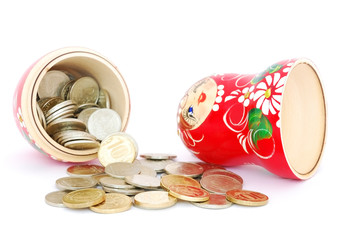 Russian doll with coins