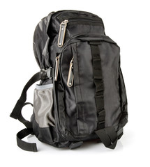 black tourist backpack isolated