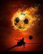Leinwandbild Motiv Hot soccer ball on the speed in fires flame