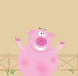 Farm animals: happy pig. Vector Illustration. poster