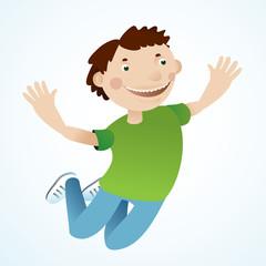vector jumping happy man