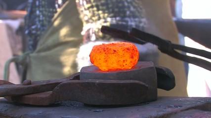 HD Hard work in Blacksmith Shop, closeup