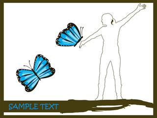 Frauensilhuette mit blauen Schmetterlingen