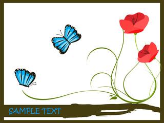 Blaue Schmetterlinge mit Blume