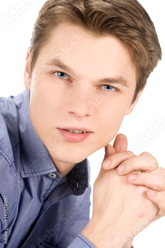 poster of Closeup image of a pleasant man isolated on white background