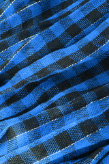 Closeup of blue tartan fabric