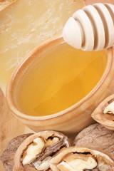 Honey, cheese and walnuts