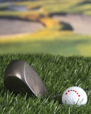 Golf ball and club on the fairway poster