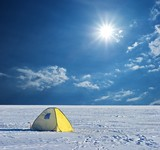 touristic tent in a winter plain poster