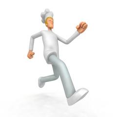 chef runs forward
