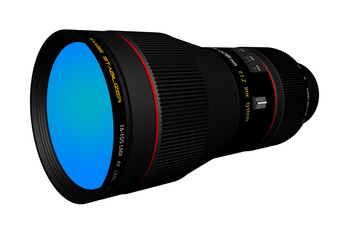 high resolution rendered image of a professional telephoto lens