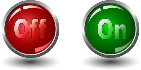power button icons, red and green- vector