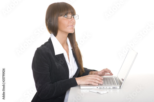 thinking girl with laptop