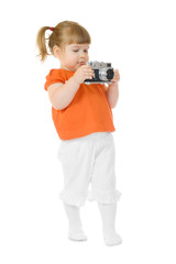 Little funny girl with photo camera