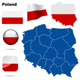 Poland  vector set. Shape, flags and icons.